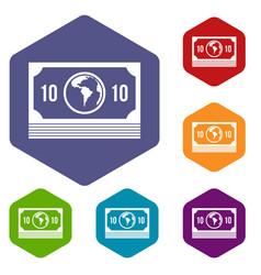 Money stack icons set hexagon vector