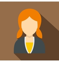Red girl with hairstyle icon flat style vector