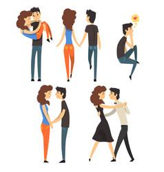 Romantic dinner dating couples set lovers walking vector
