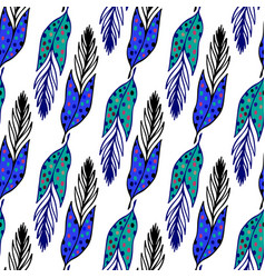 Seamless ethnic pattern with hand drawn feathers vector