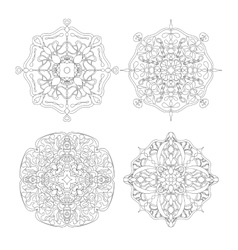 Set of four circle abstract ornament vector image vector image