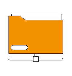 sketch color silhouette office folder with vector image