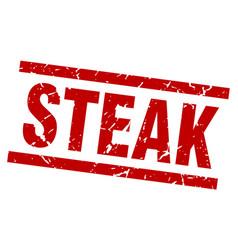 Square grunge red steak stamp vector