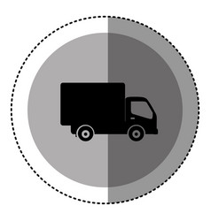Sticker monochrome circular emblem with truck icon vector