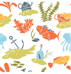 underwater hidden treasures seamless pattern vector image vector image