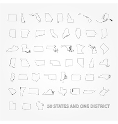 United states of america 50 states and 1 federal vector