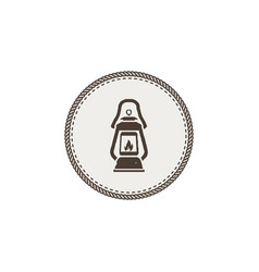 vintage camping lantern patch isolated on white vector image vector image