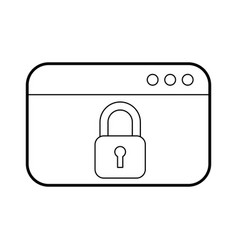 Webpage with safe secure padlock icon vector