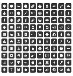 100 favorite food icons set black vector image vector image