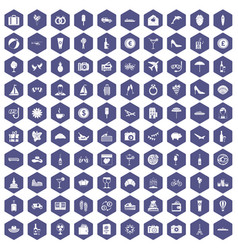 100 honeymoon icons hexagon purple vector