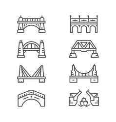 Set line icons of bridges vector image