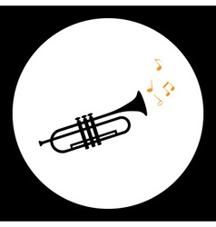 Black isolated trumpet or tube musical instrument vector