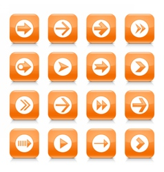 Orange arrow sign rounded square icon web button vector