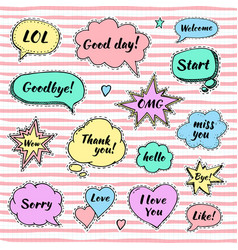 Hand drawn set of speech bubbles with dialog vector