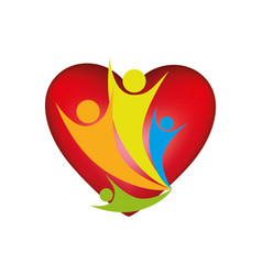 people family together inside heart icon vector image