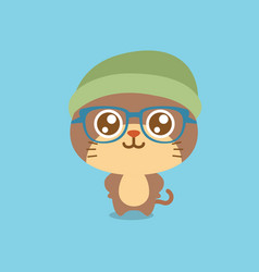Cute cat character cartoon design vector