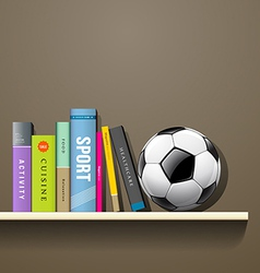 Row of colorful books and soccer ball vector