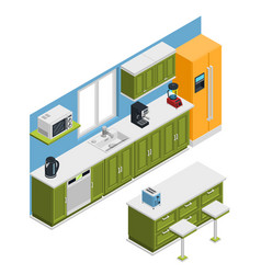 kitchen furniture isometric composition vector image