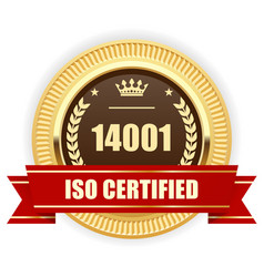Iso 14001 certified medal - environmental vector