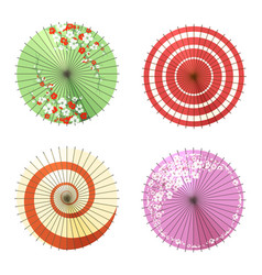 Asian umbrellas set vector