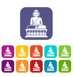 Buddha statue icons set vector