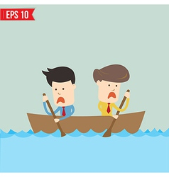 Cartoon business man rowing a boat - - eps1 vector