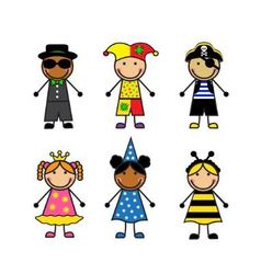 Cartoon children in different carnival costumes vector