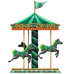 A green carrousel ride vector