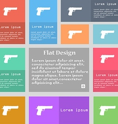 Gun icon sign set of multicolored buttons with vector