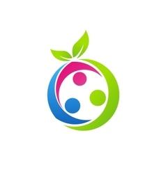 Family health concept logo nutrition fruit symbol vector
