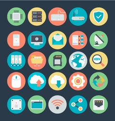 Networking colored icons 1 vector