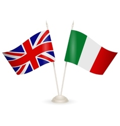 Table stand with flags of england and italy vector