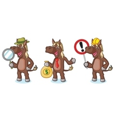Dark brown horse mascot with money vector