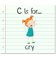 Flashcard alphabet c is for crying vector