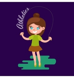 Little girl playing skipping rope white background vector