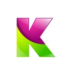 K letter green and pink logo design template vector