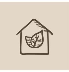 Eco-friendly house sketch icon vector