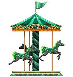 A green carrousel ride vector