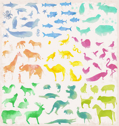 Abstract watercolour animals vector