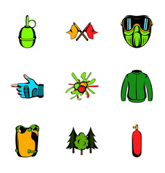 Activity icons set cartoon style vector