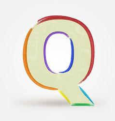 Alphabet letter q watercolor paint design element vector