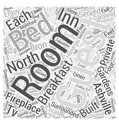 Ashville north carolina bed and brekfast word vector