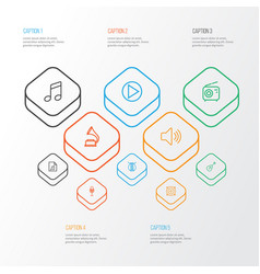 Audio outline icons set collection of audio level vector