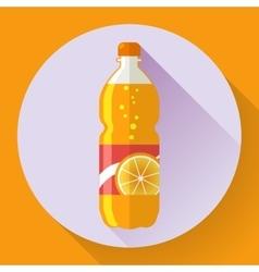 bottle with orange soda liquid Flat vector image vector image