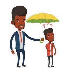 Businessman holding umbrella over young man vector