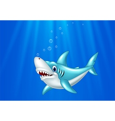 Cartoon shark swimming in the ocean vector image