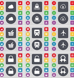 Cloud ship basket truck airplane lock medal icon vector