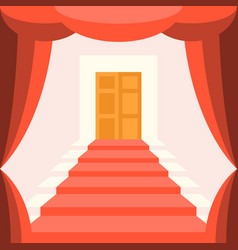 curtain staircase and door vector image vector image
