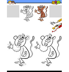 Drawing and coloring worksheet with monkey vector