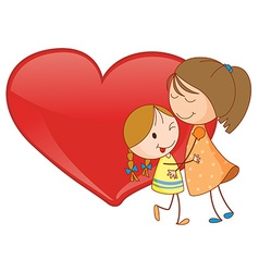 Girls and heart vector image